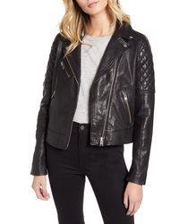 Lamarque Quilted Shoulder Leather Biker Jacket - Black