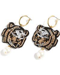J.Crew - Leather Back Beaded Tiger Earrings - Lyst