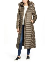 Gallery - Long Packable Quilted Hooded Parka With Faux Fur Trim, Grey - Lyst