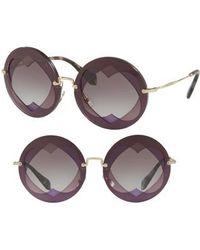 Miu Miu - 62mm Layered Heart Round Sunglasses - Violet Gradient - Lyst