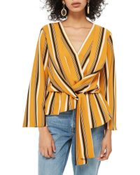 TOPSHOP - Tiffany Stripe Asymmetrical Blouse - Lyst
