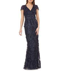 Carmen Marc Valvo Petals Embellished Gown - Blue