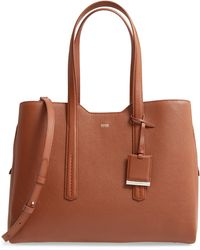 BOSS by Hugo Boss Taylor Leather Business Tote - Brown