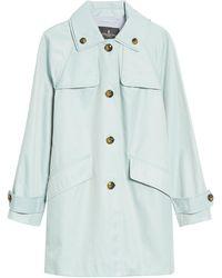 London Fog Hooded Raincoat - Blue