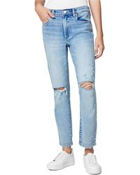 Blank NYC Madison Ripped Straight Leg Crop Jeans - Blue