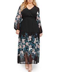 MICHEL STUDIO | Border Print Chiffon Maxi Dress | Lyst