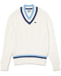 Lacoste Cable V-neck Sweater - Blue