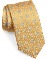 David Donahue Medallion Silk Tie - Metallic