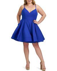 Mac Duggal Fit & Flare Cocktail Dress - Blue