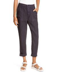 FRAME Le Beau High Waist Crop Linen Pants - Multicolor