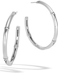 John Hardy - Bamboo Collection Large Sterling Silver Hoop Earrings - Lyst