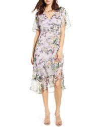 Astr Floral Ruched Front Dress - Multicolor