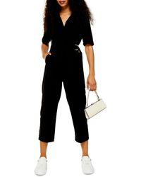 TOPSHOP Petiteutility Buckle Jumpsuit - Black