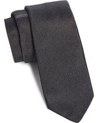 Title Of Work Contrast Stripe Silk & Cotton Tie - Gray