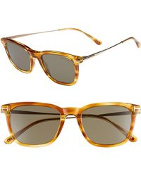 9e4fb6c880cd Tom Ford - 53mm Rectangle Sunglasses - Light Brown  Smoke - Lyst