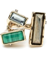 Alexis Bittar Baguette Stone Cluster Molten Metal Ring - Green