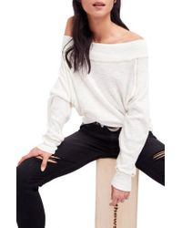 2bc6c3323ab0e Lyst - Free People Knit Rock With It Embroidered Off-the-shoulder ...