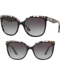 Burberry - Marblecheck 55mm Square Sunglasses - Top Black Gradient - Lyst