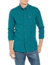 Lacoste - Regular Fit Gingham Stretch Poplin Sport Shirt - Lyst