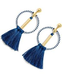 J.Crew | J.crew Tassel Drop Hoop Earrings | Lyst