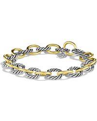 David Yurman 'oval' Link Bracelet With Gold - Metallic