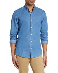 Nordstrom Slim Fit Chambray Button-down Shirt - Blue