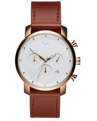 MVMT - The Chrono Chronograph Leather Strap Watch - Lyst