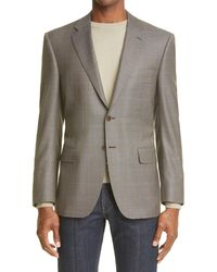 Canali Siena Soft Classic Fit Houndstooth Wool Sport Coat - Brown
