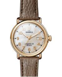 Shinola 'runwell' Leather Strap Watch - Metallic