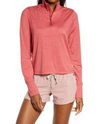 Vuori Crescent Performance Half-zip Crop Pullover - Pink