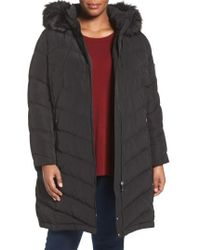CALVIN KLEIN 205W39NYC - Water Resistant Puffer Coat With Faux Fur Trim - Lyst
