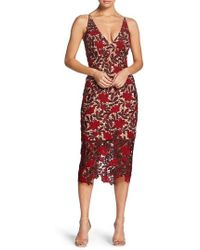 Dress the Population - Aurora Embroidered Sheath Dress - Lyst