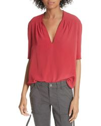 Joie - Ance Pleated Back Short Sleeve Blouse - Lyst