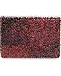 Nordstrom Ruby Snake Embossed Leather Cardholder - Burgundy - Purple