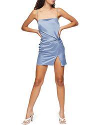 TOPSHOP Twist Slip Mini Dress - Blue