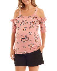 Everly Grey Megan Ruffle Cold Shoulder Maternity/nursing Top - Pink