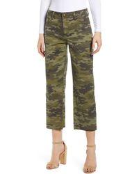 Tinsel Camouflage Wide Leg Crop Pants - Green