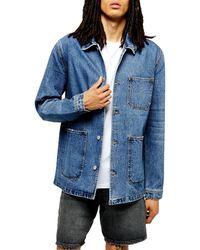 TOPMAN Denim Chore Jacket - Blue