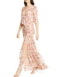 Veronica Beard Mick Floral Metallic Silk Maxi Dress - Pink