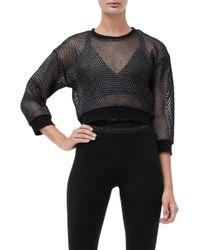 GOOD AMERICAN - Branded Mesh Pullover Sweatshirt - Lyst
