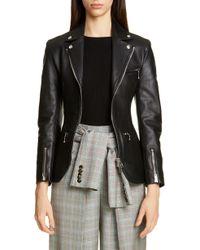 Alexander Wang Ball Chain Peplum Leather Moto Jacket - Black