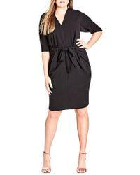 City Chic - Tie Front Dress - Lyst