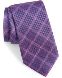 Calibrate Fetter Plaid Silk Tie - Purple