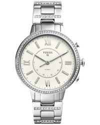 Fossil Q - Virginia Crystal Accent Hybrid Bracelet Smart Watch - Lyst