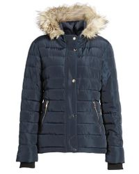 Dorothy Perkins Faux Fur Trim Hooded Puffer Jacket - Blue