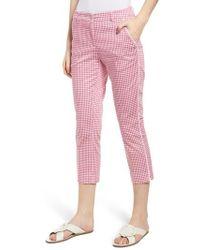 Brax Maron Gingham Stretch Cotton Pants - Pink