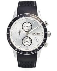 BOSS - 'rafale' Chronograph Leather Strap Watch - Lyst
