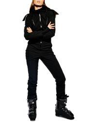 TOPSHOP Faux Fur Trim Snowsuit - Black