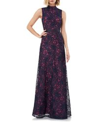 Kay Unger Floral Lace Mock Neck Fit & Flare Evening Gown - Blue