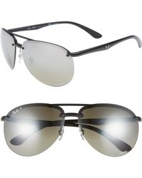 40652ba3a9 Ray-Ban - 65mm Chromance Polarized Aviator Sunglasses - Lyst